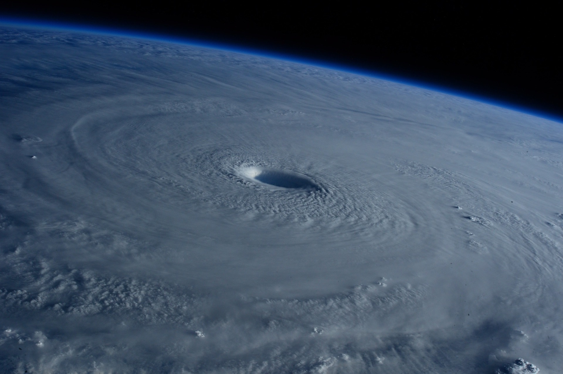 view of hurricane eye from space